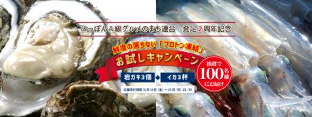 にっぽんA級グルメのまち連合 発足2周年記念!岩ガキ・ケンサキイカプレゼント!【100名様】